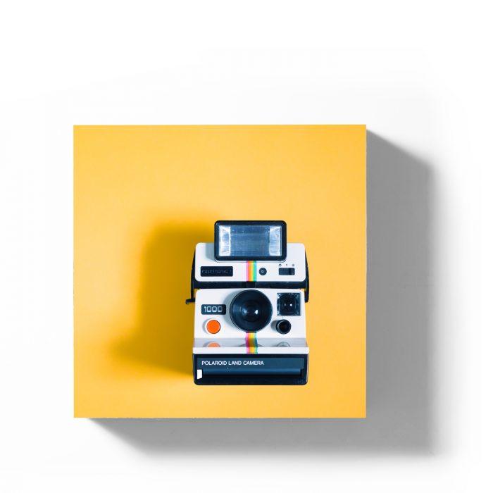 Holzbild Polaroid gelb 1