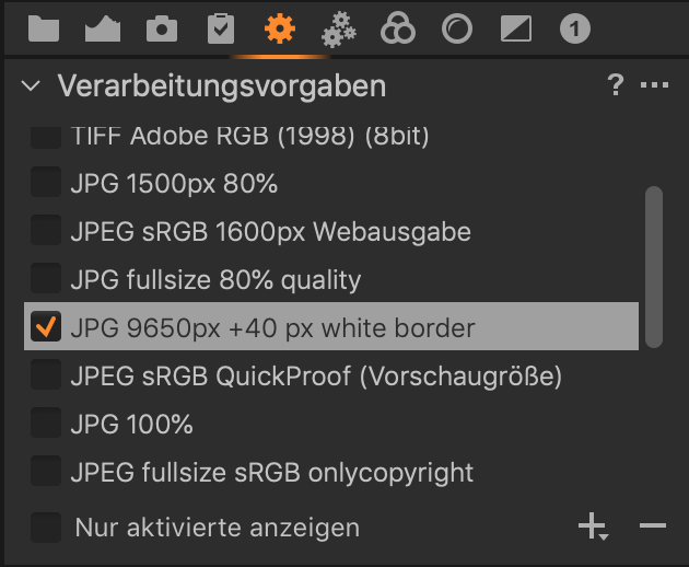 white border in Capture One Pro