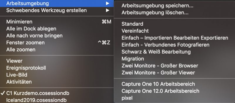Capture One Pro Arbeitsumgebung