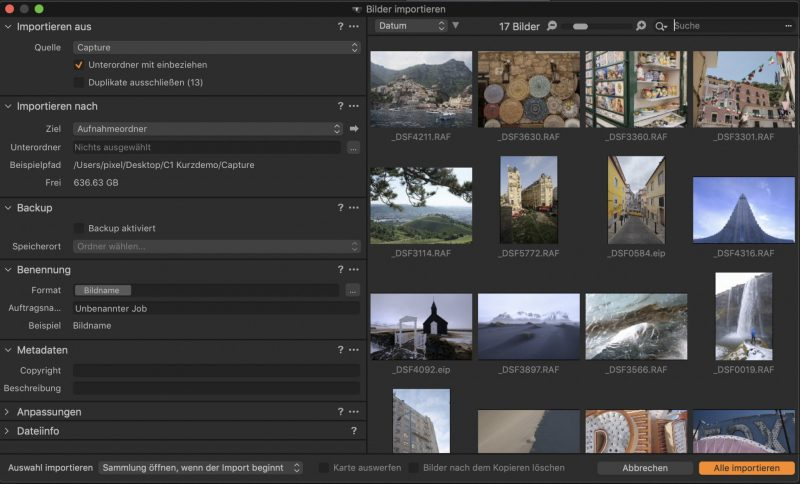 Capture One Pro Bilder Importieren