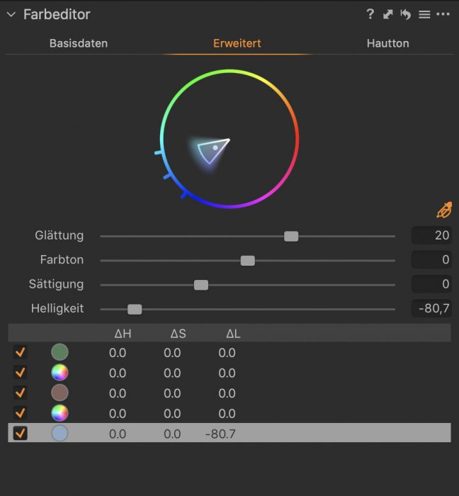 Capture One Pro Farbeditor