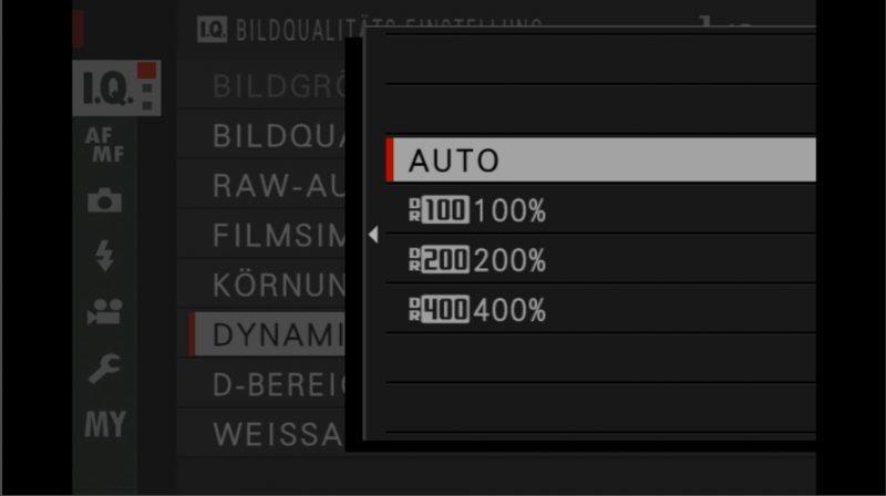 Fujifilm X-H1 Bedienungsanleitung Einstellungen Dynamikbereich