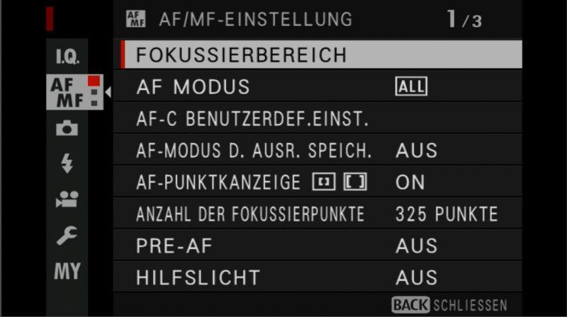 Fujifilm X-H1 Einstellungen Fokussierbereich