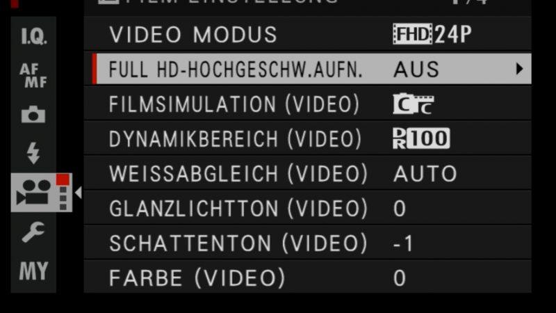 Fujifilm X-H1 Einstellungen SlowMo Hochgeschwindigkeitsaufnahme