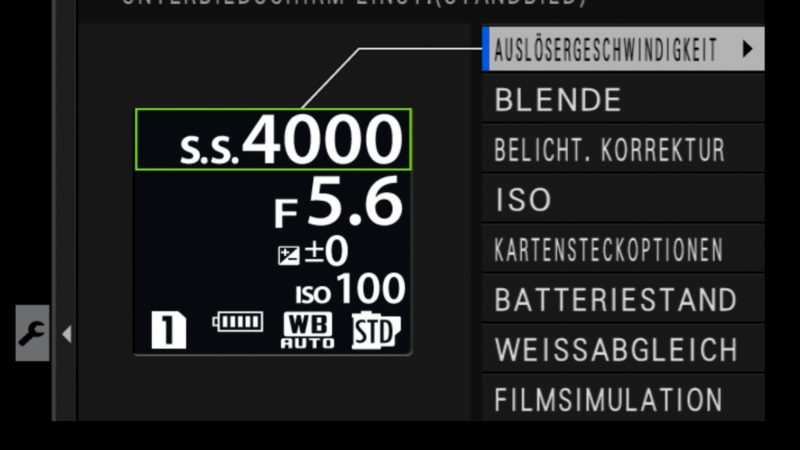 Fujifilm X-H1 Einstellungen Unterbildschirm